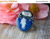 MOVING SALE... Plume Agate, Lapis, Freshwater Pearl, Sterling Silver Cocktail Ring...Size 8... The Calling Sea...