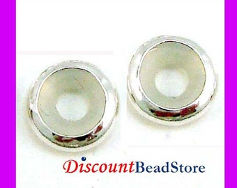 5pcs 7mm Sterling Silver Bead blocker Stopper for 3mm Leather Bracelet made in USA BB12