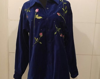 Quacker Factory Velvet Embroidered Shirt Med-Large