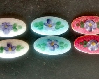 Vintage  Guilloche Enamel  Hand Painted Oval Floral Cabochons