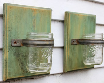 Wall Vase, Mason Jar Wall Vase, Mason Jar Decor, Wall Sconce