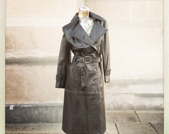 Vintage Soft Black Leather Trench Coat 70s small medium