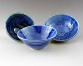 3 Blue Mini Ceramic Prep or Trinket Bowls