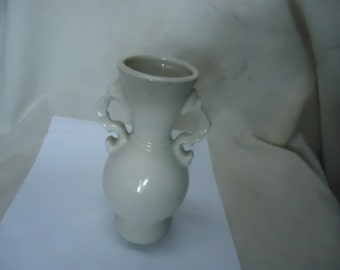 Vintage Off White Double Handled Vase,  collectable