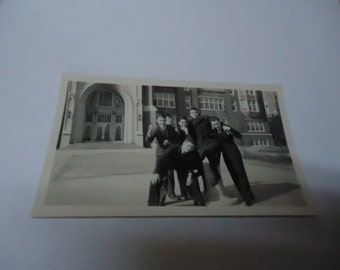 Vintage Black and White Photo Of A Group Of Young Men In Suits Outside Of Building, collectable