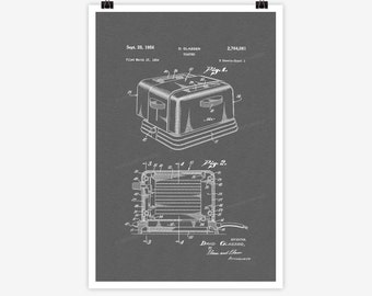 Patent Art Toaster, 1954 - Large Patent Art Print Print Patent Art Print Wall Decor Vintage Art Patent Print Wall Hanging 09.