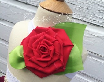 Belle Inspired Rosie Hair Headband, Enchanted Red Rose Style...Made to Order