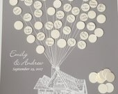 Wedding guestbook alternative, Movie Up inspired Wedding Guestbook alternative, guest book poster, flying house with balloons Disney Wedding