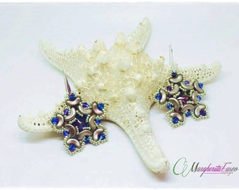 Stardust Earrings pattern. pdf tutorial, how to make Stardust earrings using arcos beads.