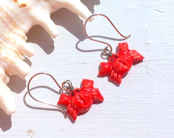 Red Crab Ceramic Earrings on Sterling Silver Wire