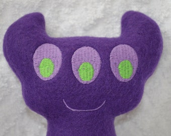 Handmade Stuffed Purple Horned Monster - Fleece, Child Friendly machine washable softie plush