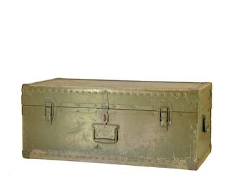 Vintage Military Trunk Footlocker, Trunk Coffee Table, Metal Trunk, Army Green Trunk, Military Storage Trunk, Vintage Trunk