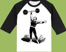 Strongman Black Raglan, Vintage Circus, Mens clothes,Boys clothes, Mens Baseball shirt,Retro Circus by ChiTownBoutique.etsy