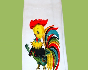 Rooster, Flour Sack, Tea Towel, Kitchen towel, hostess gift, housewarming gift, any design, boutique quality, bright colors