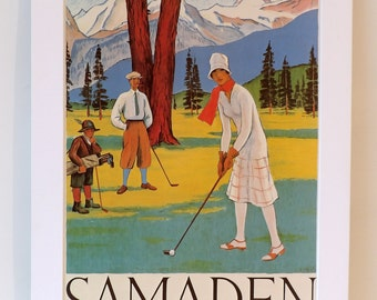 Vintage Poster Lithograph advertising Samaden Golf in Switzerland Matted and Ready to frame