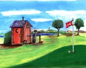 Outhouse Golf Matted Art Print ( Funny art print of a golfing, a few beers and having to use the Outhouse (FREE SHIPPING)