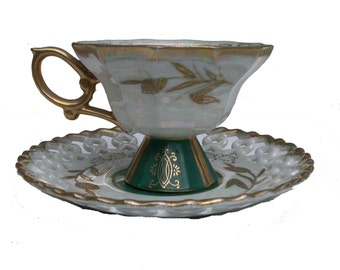 Vintage Tea Cup and Saucer Set, Dark Green and White with Gold Trim and Accents, Scallop Edge Saucer, Decor, Upcycling