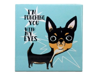 Eye Punch Dog Chihuahua Wall Art Ceramic 4x4 Tile