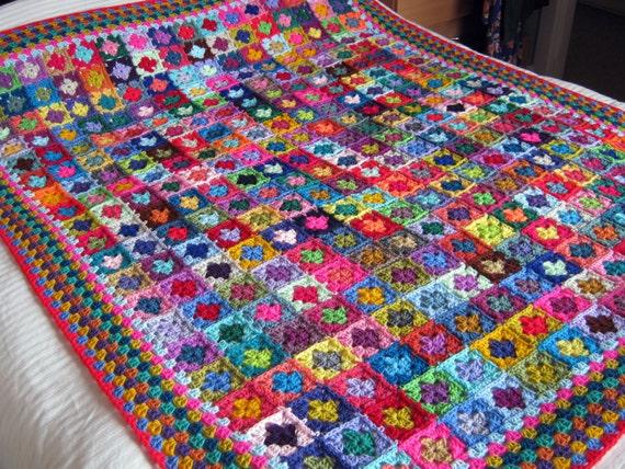 "Mini Granny Squares BLANKET Afghan 70"" x 60""  Crochet 320 squares"