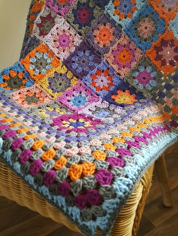 Crochet Blanket Kaleidoscope Flower Granny Squares Afghan Orange Purple