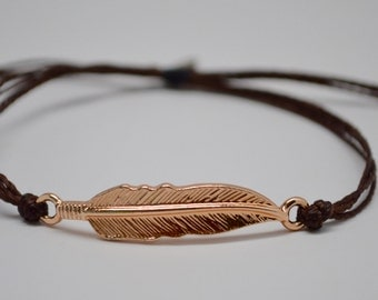 Feather Bracelet, Rose Gold Feather Bracelet, Adjustable Feather Bracelet