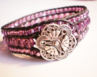 Sparkly Purple Jewelry Czech Glass Cuff Leather Wrap Bracelet
