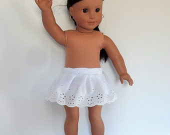 """White Eyelet Lace Skirt Fits American Girl Doll Clothes 18"""""""