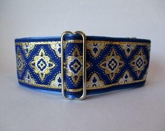2 inch Martingale Collar, Blue Martingale Collar, Royal Blue Jacquard, Greyhound Collar, Blue Dog Collar, Wide Dog Collar
