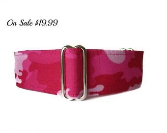 Camo Martingale Collar, 1.5 Inch Martingale Collar, Pink Martingale Collar, Greyhound Collar, Pink Dog Collar, Camo Dog Collar