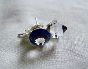 Vintage Swarovski Crystal Bermuda Blue Rocket Earrings