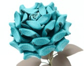 Teal Leather Rose third Anniversary wedding gift Long Stem turquoise leather flower Valentine's Day 3rd Leather Anniversary Mother's Day
