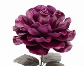 Violet Leather Rose Large Third Wedding Stem Leather Flower Valentine's Day 3rd Leather Anniversary Mother's Day Anniversary Gift