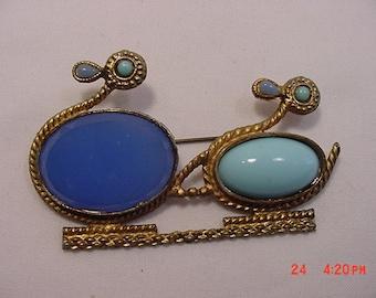 Vintage Blue Ducks Brooch   16 - 110