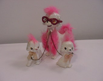 Vintage 1950's Cool Mom Poodle And Two Puppies Figurines  15 - 48