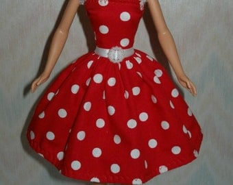 Handmade Barbie clothes - red and white polka dot dress