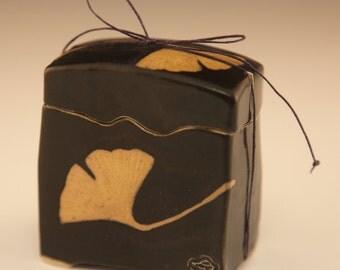 Handmade Black Japanese Wishbox With Ginkgo Leaves