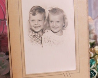 Antique Cabinet Photograph-Sweet Siblings
