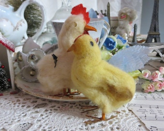 Vintage Chenille Rooster and Hen Chick-Bead Eyes-Wire Feet-OLD STOCK-Made in Japan-Cotton Batting
