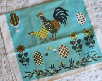 Vintage Kitchen Tea Towel-Chickens-Mid Century-Eames-Whimsical-Unused-Signed