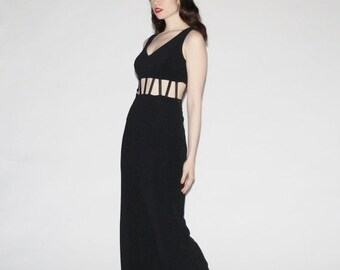 ON SALE 65% ends May 1st Vintage 90s Black Maxi Dress - 90s Black Prom  Dress - The Caged Heart Dress - WD0210