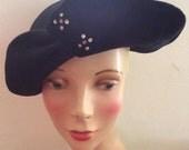 Vintage 1940s Hat Black Wool Felt Velvet Rhinestones Velvet Buttons Jaunty Tilt