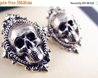 CLEAROUT SALE 40% OFF Darkness---skull ear studs, gothic, victorian noir, ox sterling silver plated solid brass earring post,