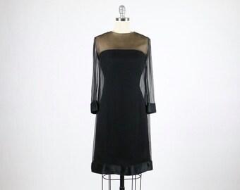 Vintage Jean Louis Dress / 1960s Dress / Designer Dress / Sheer Illusion Dress Black Nude Dress / Marilyn Monroe Style Dress / Cocktail