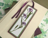 Bookmark Pressed Flower Purple Alyssum With Leaves Laminated
