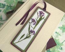 Bookmark Pressed Flower Purple Alyssum With Leaves Laminated