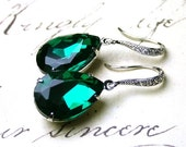 ON SALE Emerald Green Vintage Jeweled Earrings - Estate Style Earrings - Sterling Silver and CZ Earwires With Dark Green Jewels