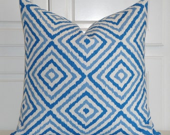 KRAVET - Blue and White Decorative Pillow Cover - Diamond Geometric Pillow - Sofa Pillow - Jonathan Adler