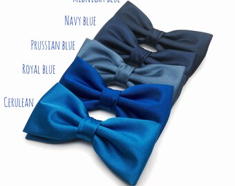 Mens Bow Tie Navy Blue Royal Blue Prussian Blue Cerulean Solid Satin BowTie for Wedding Bow Tie Groom Groomsmen Men Boy Kid Baby Shower