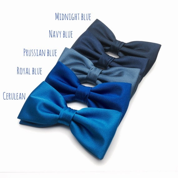 Mens Bow Tie Navy Blue Royal Blue Prussian Blue Cerulean Solid