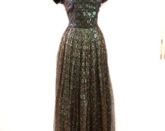 Vintage 1940s Evening Dress - Brown and Metallic Green 40s 50s Party Dress - WWII Maxi Dress with Metal Zipper - Size Medium estimated